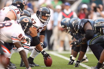 SEATTLE - AUGUST 16:  Center Olin Kreutz #57 of the Chicago Bears gets ready to hike the ball during the game against the Seattle Seahawks at Qwest Field on August 16, 2008 in Seattle, Washington. The Seahawks defeated the Bears 29-26. (Photo by Otto Greu