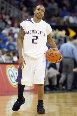 KANSAS CITY, MO - NOVEMBER 25:  Isaiah Thomas #2 of the Washington Huskies reacts on the court against the Florida Gators during the CBE Classic consolation game on November 25, 2008 at the Sprint Center in Kansas City, Missouri. (Photo by: Jamie Squire/G