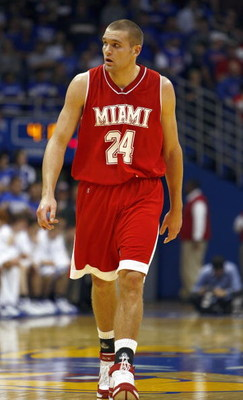 LAWRENCE - DECEMBER 22: Michael Bramos #24 of the Miami (Ohio) Redhawks walks downcourt during the game the Kansas Jayhawks during the game on December 22, 2007 at Allen Fieldhouse in Lawrence, Kansas. (Photo by: Jamie Squire/Getty Images)
