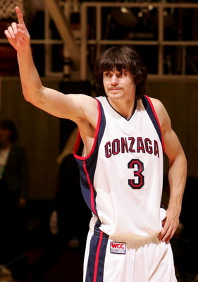 SALT LAKE CITY - MARCH 18:  Adam Morrison #3 of the Gonzaga Bulldogs celebrates his teams' 90-80 win against the Indiana Hoosiers during the Second Round of the 2006 NCAA Men's Basketball Tournament March 18, 2006 at the Jon M. Huntsman Center in Salt Lak