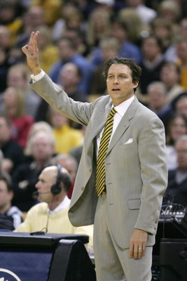 COLUMBIA, MO - JANUARY 16: Head coach Quin Snyder of the Missouri Tigers signals during the game against the Kansas Jayhawks on January 16,2006 at Mizzou Arena in Columbia, Missouri. Missouri defeated Kansas 89-86 in overtime. (Photo by Elsa/Getty Images)