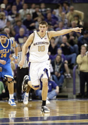 SEATTLE - MARCH 3: Spencer Hawes #10 of the Washington Huskies reacts on the court during the game against the UCLA Bruins at Edmundson Pavilion March 3, 2007 in Seattle, Washington. The Huskies defeated the Bruins 61-51. (Photo by Otto Greule Jr/Getty Im