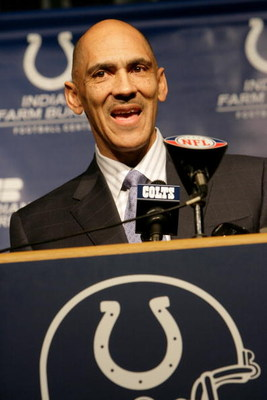 INDIANAPOLIS - JANUARY 12: Tony Dungy, head coach of the Indianapolis Colts, speaks to the media at the Indianapolis Colts Complex on January 12, 2009 in Indianapolis, Indiana.  Dungy retires after seven years with the Colts.  (Photo by Ron Hoskins/Getty