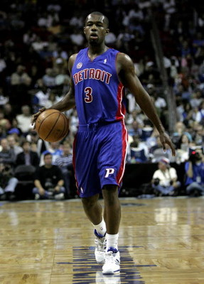 ORLANDO, FL - JANUARY 21:  Rodney Stuckey #3 of the Detroit Pistons, sets up the offense in a game against the Orlando Magic at Amway Arena on January 21, 2008 in Orlando, Florida. NOTE TO USER: User expressly acknowledges and agrees that, by downloading