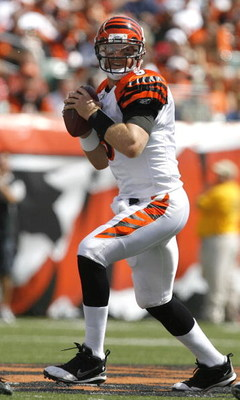 CINCINNATI - SEPTEMBER 14:  Carson Palmer #9 of the Cincinnati Bengals throws the ball against the Tennessee Titans during the first quarter of their NFL game September 14, 2008 at Paul Brown Stadium in Cincinnati, Ohio. The Titans defeated the Bengals 24