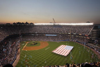 NEW YORK - JULY 15:  A general view of an American flag on the field during the 79th MLB All-Star Game at Yankee Stadium on July 15, 2008 in the Bronx borough of New York City. (Photo by Mike Stobe/Getty Images)