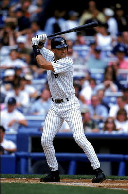 8 May 1999:  Derek Jeter #2 of the New York Yankees at bat during the game against the Detroit Tigers at Yankee Stadium in the Bronx, New York. The Tigers defeated the Yankees 8-2.  Mandatory Credit: Jamie Squire  /Allsport