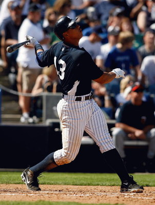 TAMPA, FL - FEBRUARY 28:  Infielder Alex Rodriguez #13 of the New York Yankees fouls off a pitch against the Minnesota Twins during a Grapefruit League Spring Training game at George M. Steinbrenner Field on February 28, 2009 in Tampa, Florida.  (Photo by