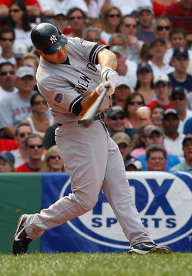 BOSTON - JULY 26:  Xavier Nady #29 of the New York Yankees bats against the Boston Red Sox at Fenway Park July 26, 2008 in Boston, Massachusetts. The Yankees defeated the Red Sox 10-3.  (Photo by Jim Rogash/Getty Images)