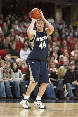 LOUISVILLE, KY - JANUARY 12:  Luke Harangody #44 of the Notre Dame Fighting Irish takes a shot during the Big East Conference game against the Louisville Cardinals on January 12, 2009 at Freedom Hall in Louisville, Kentucky.  (Photo by Andy Lyons/Getty Im