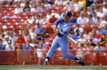 MILWAUKEE - 1990:  George Brett #5 of the Kansas City Royals bats during a game in the 1990 season against the Milwaukee Brewers at County Stadium in Milwaukee, Wisconsin.  (Photo by Rick Stewart/Getty Images)