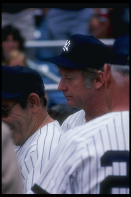 Sep 1981:  Mickey Mantle looks on during a New York Yankees game. Mandatory Credit: T. G. Higgins  /Allsport