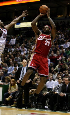 MILWAUKEE - FEBRUARY 20:  LeBron James #23 of the Cleveland Cavaliers puts up a shot on his way to a game-high 55 points against the Milwaukee Bucks on February 20, 2009 at the Bradley Center in Milwaukee, Wisconsin. The Cavaliers defeated the Bucks 111-1