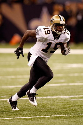 NEW ORLEANS - OCTOBER 12:  Devery Henderson #19 of the New Orleans Saints plays against the Oakland Raiders during their NFL game on October 12, 2008 at the Superdome in New Orleans, Louisiana. The Saints defeated the Raiders 34-3.  (Photo by Chris Grayth