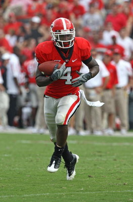 ATHENS - AUGUST 30:  Running back Caleb King #4 of the Georgia Bulldogs rushed for 95 yards during the game against the Georgia Southern Eagles at Sanford Stadium on August 30, 2008 in Athens, Georgia.  (Photo by Mike Zarrilli/Getty Images)