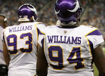 DETROIT - DECEMBER 07:  (L-R) Kevin Williams #93 and Pat Williams #94 of the Minnesota Vikings watch from the sidelines during the NFL game against the Detroit Lions at Ford Field on December 7, 2008 in Detroit, Michigan.  The Vikings defeated the Lions 2