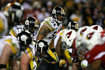 TAMPA, FL - FEBRUARY 01:  Linebacker LaMarr Woodley #56 of the Pittsburgh Steelers looks straight ahead waiting for the ball to be snapped against the Arizona Cardinals during Super Bowl XLIII on February 1, 2009 at Raymond James Stadium in Tampa, Florida