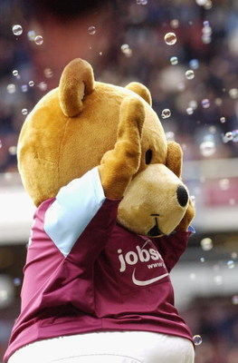 LONDON - FEBRUARY 19:  Bubbles the West Ham United mascot entertains the crowd prior to the Coca-Cola Championship match between West Ham United and Plymouth Argyle at Upton Park on February 19 2005, in London, England.  (Photo by Ker Robertson/Getty Imag