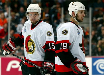 ANAHEIM, CA - JUNE 06:  Dany Heatley #15 and teammate Jason Spezza #19 of the Ottawa Senators react to a play during Game Five of the 2007 Stanley Cup finals against the Anaheim Ducks on June 6, 2007 at Honda Center in Anaheim, California.   (Photo by Jim