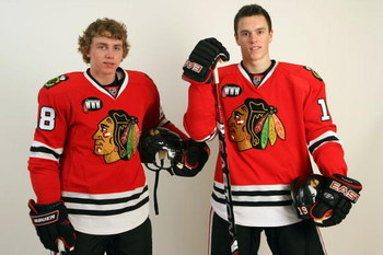 CHICAGO - NOVEMBER 08:  Patrick Kane #88 (L) and Jonathan Toews #19 of the Chicago Blackhawks pose for a photo portrait shoot at the Edge (Blackhawks practice facilty) on November 8, 2007 in Bensenville, Illinois.  (Photo by Jonathan Daniel/Getty Images)