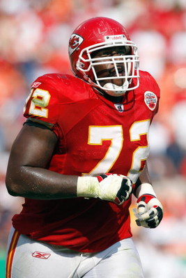 KANSAS CITY - SEPTEMBER 28:  Glenn Dorsey #72 of the Kansas City Chiefs jogs on the field during the game against the Denver Broncos on September 28, 2008 at Arrowhead Stadium in Kansas City, Missouri. The Chiefs defeated the Broncos 33-19.  (Photo by: Ja