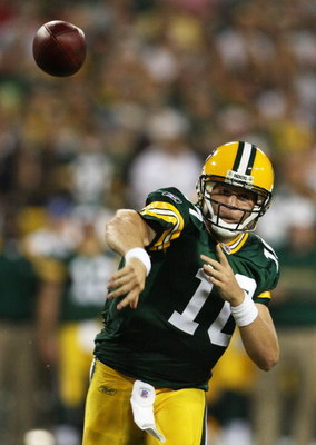 GREEN BAY, WI - AUGUST 28: Matt Flynn #10 of the Green Bay Packers throws a touchdown pass against the Tenessee Titans on August 28, 2008 at Lambeau Field in Green Bay, Wisconsin. (Photo by Jonathan Daniel/Getty Images)