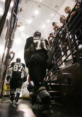 PITTSBURGH - MAY 04: Sidney Crosby #87 and Evgeni Malkin #71 of the Pittsburgh Penguins head out for warmups prior to their game against the New York Rangers in game five of the Eastern Conference Semifinals of the 2008 NHL Stanley Cup Playoffs on May 4,