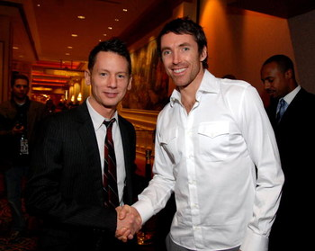LAS VEGAS - FEBRUARY 17:  (L-R) Jim Nelson, Editor-In-Chief, and Steve Nash attend the NBA All-Star Weekend Party hosted by GQ Magazine and Steve Nash of the Phoenix Suns in the VBar at the Venetian Hotel on February 17, 2007 in Las Vegas, Nevada.  (Photo