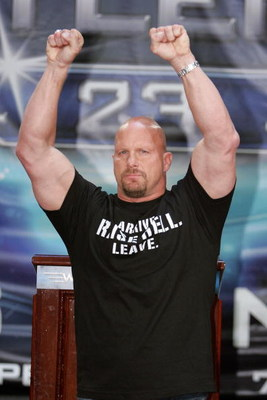 NEW YORK - MARCH 28:  Wrestler Stone Cold Steve Austin attends the press conference held by Battle of the Billionaires to announce the details of Wrestlemania 23 at Trump Tower on March 28, 2007 in New York City.  (Photo by Bryan Bedder/Getty Images)