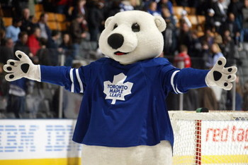 TORONTO - FEBRUARY 2: Carlton the Bear of the Toronto Maple Leafs celebrates the Leafs win over the Ottawa Senators during their NHL game at the Air Canada Centre February 2, 2008 in Toronto, Ontario. (Photo By Dave Sandford/Getty Images)