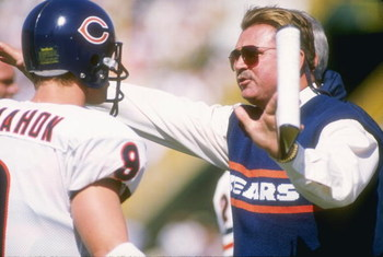 25 Sep 1988:  Head coach Mike Ditka of the Chicago Bears instructs quarterback Jim McMahon during the Bears 24-6 victory over the Green Bay Packers at Lambeau Field in Green Bay, Wisconsin.  Mandatory Credit: Jonathan Daniel  /Allsport