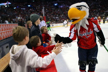 MONTREAL - JANUARY 24:  Slapshot of the Washington Capitals takes part in the mascot game as part of the 2009 NHL All-Star weekend on Jaunary 24, 2009 at the Bell Centre in Montreal, Canada.  (Photo by Bruce Bennett/Getty Images)