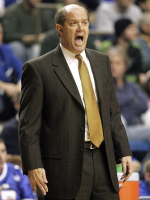 LEXINGTON, KY - JANUARY 20:  Kevin Stallings the head coach of the Vanderbilt Commodores gives instructions to his team during the game against the Kentucky Wildcats on January 20, 2007 at Rupp Arena in Lexington, Kentucky. Vanderbilt defeated Kentucky, 7