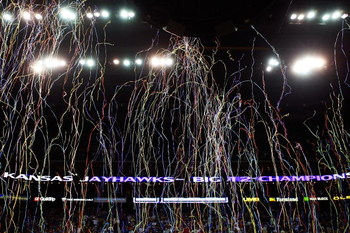 KANSAS CITY, MO - MARCH 16:  Confetti falls from the rafters following the Big 12 Men's Basketball Tournament Finals between the Texas Longhorns and the Kansas Jayhawks on March 16, 2008 at the Sprint Center in Kansas City, Missouri.  (Photo by Jamie Squi