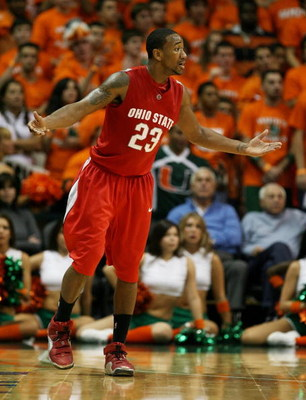 CORAL GABLES, FL - DECEMBER 02:  David Lighty #23 of the Ohio State Buckeyes reacts after being called for a foul against the Miami Hurricanes at BankUnited Center on December 2, 2008 in Coral Gables, Florida. Ohio State defeated Miami 73-68.  (Photo by D