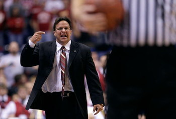 INDIANAPOLIS - DECEMBER 06:  Head coach Tom Crean of the Indiana Hoosiers pleads his case to a referee against the Gonzaga Bulldogs during the Hartford Hall of Fame Showcase on December 6, 2008 in Indianapolis, Indiana. Gonzaga won 70-54.  (Photo by Andy