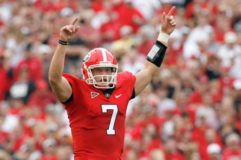 ATHENS, GA - OCTOBER 11: Matthew Stafford #7 of the Georgia Bulldogs celebrates on the field during the game against the Tennessee Volunteers at Sanford Stadium on October 11, 2008 in Athens, Georgia.  (Photo by Kevin C. Cox/Getty Images)