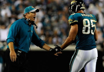 JACKSONVILLE, FL - DECEMBER 18:  Head coach Jack Del Rio of the Jacksonville Jaguars celebrates a touchdown with Richard Angulo #85 during the game against the Indianapolis Colts at Jacksonville Municipal Stadium on December 18, 2008 in Jacksonville, Flor