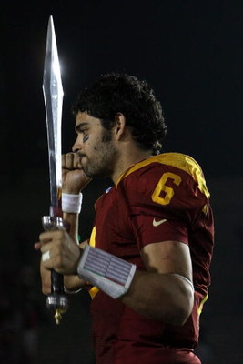 PASADENA, CA - JANUARY 01:  Quarterback Mark Sanchez #6 of the USC Trojans performs the USC fight song after defeating the Penn State Nittany Lions at the 95th Rose Bowl Game presented by Citi on January 1, 2009 at the Rose Bowl in Pasadena, California.