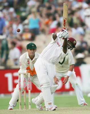 ADELAIDE, AUSTRALIA - NOVEMBER 25:  Brian Lara of the West Indies hits out during day one of the Third Test between Australia and the West Indies played at the Adelaide Oval on November 25, 2005 in Adelaide, Australia.   (Photo by Hamish Blair/Getty Image