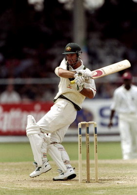 27 Mar 1999:  Ricky Ponting of Australia on his way to a century in the Third Test against the West Indies at the Kensington Oval in Bridgetown, Barbados. The West Indies won by 1 wicket to go 2-1 up in the series. \ Mandatory Credit: Ben Radford /Allspor