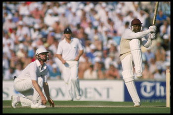 1 Jul 1988:  Gordon Greenidge of the West Indies hits out.    Mandatory Credit: /Allsport UK