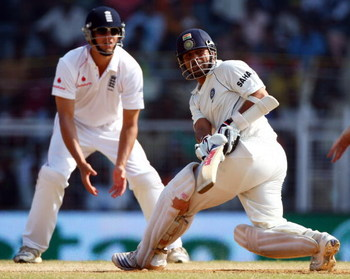CHENNAI, INDIA - DECEMBER 15: Sachin Tendulkar of India sweeps during day 5 of the First Test Match between India and England at the MA Chidambaram Stadium on December 15, 2008 in Chennai, India.  (Photo by Julian Herbert/Getty Images)