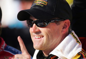 TALLADEGA, AL - APRIL 28:  Bobby Labonte, driver of the #77 Dollar General Chevrolet, gestures the #1 sign as he celebrates in victory lane after winning the NASCAR Busch Series Aaron's 312 at Talladega Superspeedway on April 28, 2007 in Talladega, Alabam