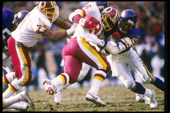 18 Jan 1988:  Running back Timmy Smith of the Washington Redskins gets tackled during a playoff game against the Minnesota Vikings at RFK Stadium in Washington, D. C.  The Redskins won the game, 17-10. Mandatory Credit: Mike Powell  /Allsport