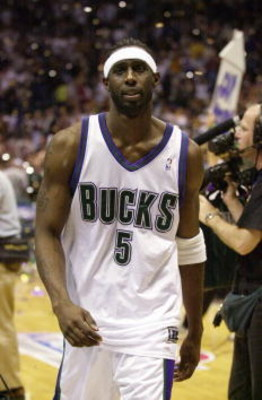 26 May 2001:  Tim Thomas #5 of the Milwaukee Bucks walks off the court after game three of the eastern conference finals against the Philadephia 76ers at the Bradley Center in Milwaukee, Wisconsin.  The Bucks won 80-74.  DIGITAL IMAGE.  Mandatory Credit: