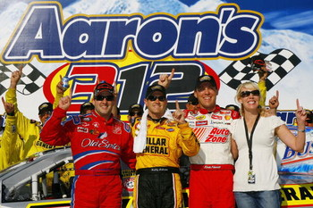 TALLADEGA, AL - APRIL 28:  Bobby Labonte, driver of the #77 Dollar General Chevrolet, poses for a photo with his team owner Delana Harvick (R), Kevin Harvick, driver of the #21 AutoZone Chevrolet and Tony Stewart, driver of the #33 Old Spice Chevrolet in