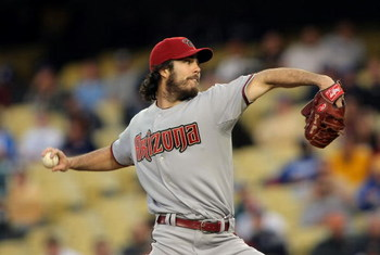 LOS ANGELES, CA - APRIL 23:  Dan Haren #15 of the Arizona Diamondbacks delivers a pitch in the first inning against the Los Angeles Dodgers at Dodger Stadium on April 23, 2008 in Los Angeles, California.  (Photo by Harry How/Getty Images)