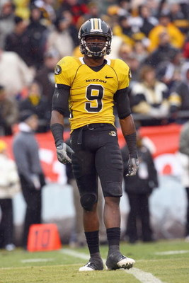 KANSAS CITY, MO - NOVEMBER 29:  Jeremy Maclin #9 of the Missouri Tigers walks on the field during the game against the Kansas Jayhawks on November 29, 2008 at Arrowhead Stadium in Kansas City, Missouri. (Photo by Jamie Squire/Getty Images)