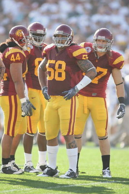 PASADENA, CA - JANUARY 1:  Rey Maualuga #58 and Clay Matthews #47 of the USC Trojans look on against the Penn State Nittany Lions on January 1, 2009 at the Rose Bowl in Pasadena, California.  USC won 38-24.  (Photo by Jeff Golden/Getty Images)